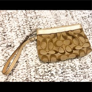 Coach Wristlet- Brown and Gold
